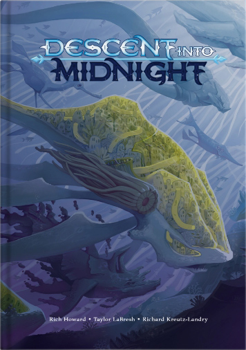 Mock-up of book with purple seascape and strange aquatic creatures.