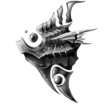 Fish with component parts physically separate, held together with psionics.
